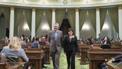 Assemblymember Cooley Walks with Woman of the Year Michelle Callejas